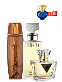 Bundle for Women: Marciano for Women, edP 100ml by Guess + Seductive for Women, edT 75ml by Guess + Eternity for Women, edP 100ml by Calvin Klein + Dylan Blue pour Femme Miniature for Women, edP 5ml by Versace Free!