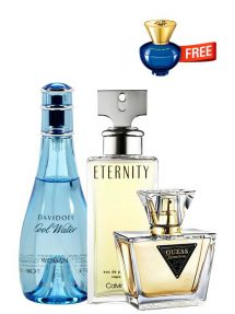 Bundle for Women: Cool Water for Women, edT 100ml by Davidoff + Seductive for Women, edT 75ml by Guess + Eternity for Women, edP 100ml by Calvin Klein + Dylan Blue pour Femme Miniature for Women, edP 5ml by Versace Free!