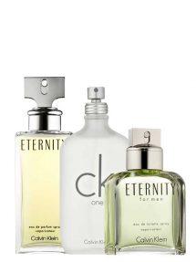Bundle for Couples: Eternity for Women, edP 100ml by Calvin Klein + Eternity for Men, edT 100ml by Calvin Klein + CK One (White) for Men and Women (Unisex), edT 100ml by Calvin Klein