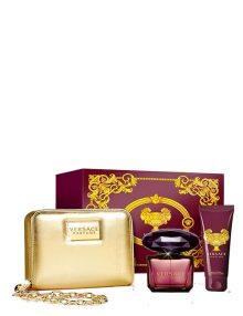Crystal Noir Gift Set for Women, (edT 90ml + Body Lotion 100ml + Chain Bag) by Versace