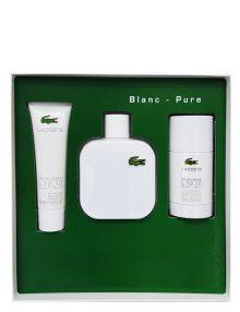 Eau de Lacoste Blanc (White) Gift Set for Men (edT 100ml + Shower Gel + Deodorant Stick) by Lacoste