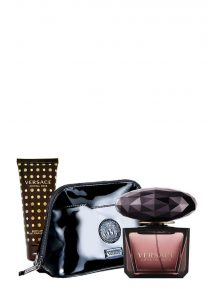 Crystal Noir Gift Set for Women (edT 90ml + Body Lotion + Luxury Black Pouch) by Versace