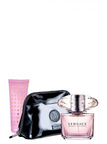 Bright Crystal Gift Set for Women (edT 90ml + Body Lotion + Luxury Black Pouch) by Versace