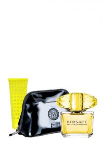 Yellow Diamond Gift Set for Women (edT 90ml + Perfumed Body Lotion + Luxury Black Pouch) by Versace