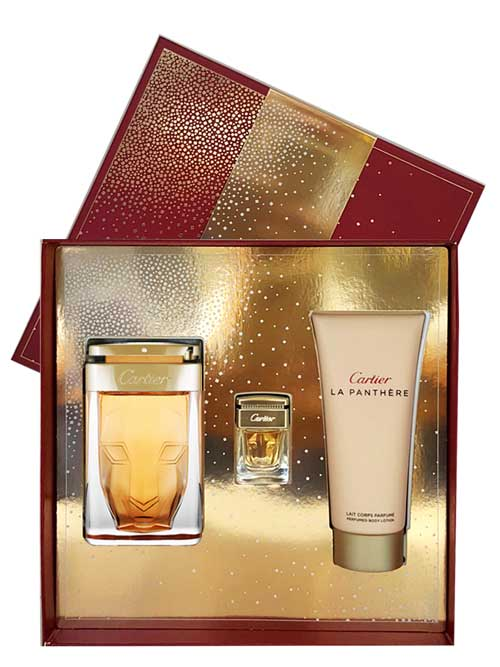 La Panthere Gift Set for Women (edP 75ml + Perfumed Body Lotion + Miniature) by Cartier