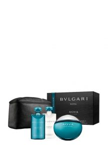 AQVA Gift Set for Men (edT 100ml + After Shave Balm + Shampoo and Shower Gel + Pouch) by Bvlgari